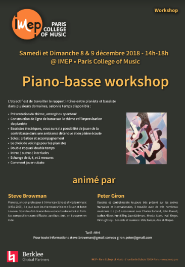 Piano-basse workshop animé par Steve Browman et Peter Giron