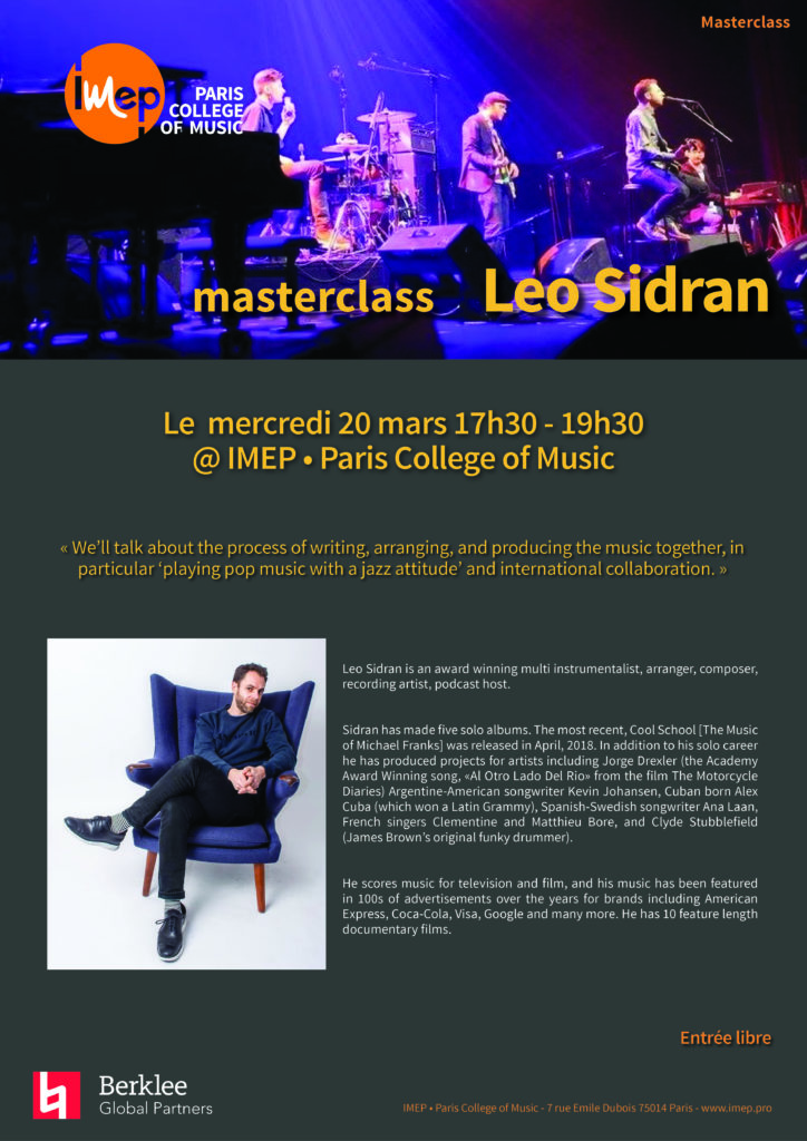Loe sidran IMEP Paris College of Music Masterclass