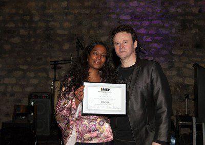 Cybèle Mamarot avec sylvain Luc dans la soirée remise des diplômes de laPromotion 2013 de l'IMEP