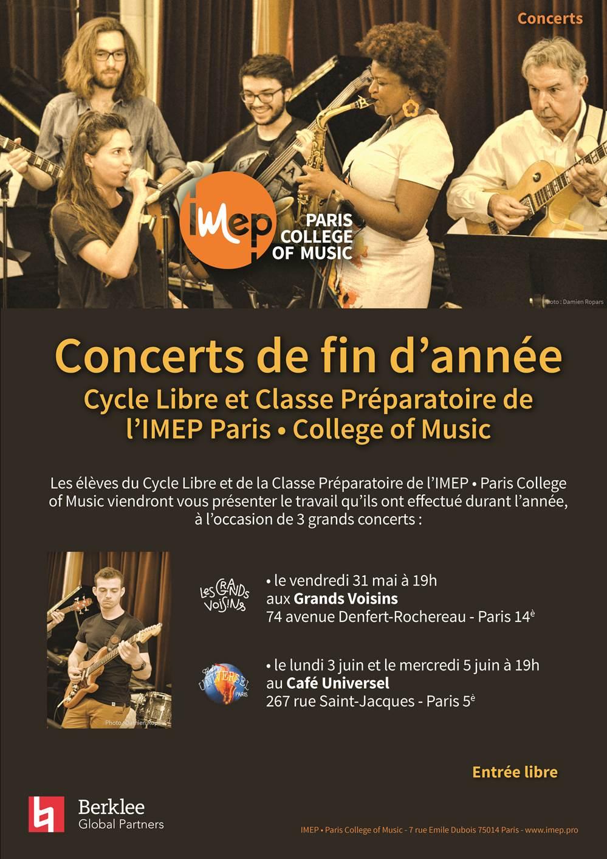 concerts de fin d'année cycle libre et classe préparatoire imep 2019